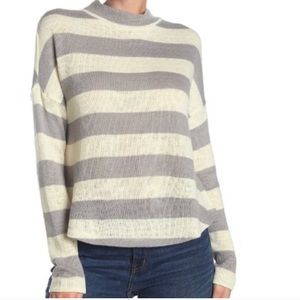 Socialite Striped Mock Neck Dolman Sleeve Sweater